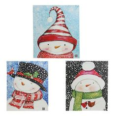 """RAZ Lighted Snowman Print  Priced Individually, Choose from 3 styles - SOLD OUT OF BLACK TOP HAT, RED/WHITE Made of Polyester Canvas Measures 12"""" X 14"""" Requires 3 AA Batteries Corner Button Activated Artist: Bonnie Young   RAZ Exclusive  Click here to see a youtube video of the prints activated. RAZ 2014 Snow Biz Collection"""
