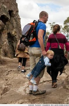 He carried his kid all the way up the mountain. Parenting at its finest