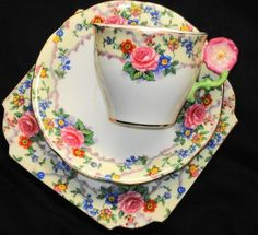 Aynsley England Roses Flower Handle Pink Rose Tea Cup and Saucer Trio Plate