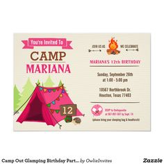 Shop Camp Out Glamping Birthday Party Invitation created by OwlieInvites. Camping Party Invitations, Sleepover Invitations, Birthday Invitations Kids, Camping Parties, Slumber Parties, 12th Birthday, Glamping, Party Ideas, Ideas Party