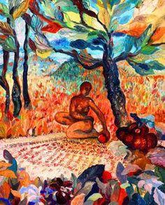 """Saatchi Art Artist Nada  Sucur Jovanovic; Painting, """"field &women with malloon """" #art"""