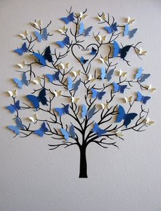 Butterfly tree craft gifts for grandparents Family Tree of Butterflies in YOUR Choice of Colors for Each Generation / Personalized with Fa Diy And Crafts, Crafts For Kids, Arts And Crafts, Paper Crafts, Diy Paper, Craft Ideas For Teen Girls, Paper Flowers Craft, Decor Crafts, Butterfly Tree