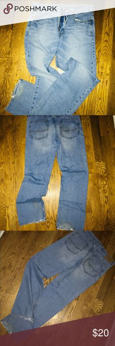 Distressed Denim Jeans American Eagle distressed denim jeans - presaged faded and tattered...comfortably worn. American Eagle Outfitters Jeans Relaxed