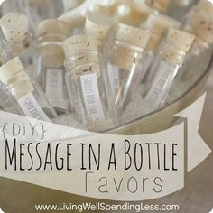 in a Bottle Party Favors. So cute for a beach themed party or wedding! Would be great for a mermaid or pirate party too!Message in a Bottle Party Favors. So cute for a beach themed party or wedding! Would be great for a mermaid or pirate party too! Baby Dekor, Do It Yourself Wedding, Beach Wedding Favors, Beach Party Favors, Nautical Party Favors, Sweet 16 Party Favors, Wedding Gifts, Nautical Theme, Pirate Party Favors