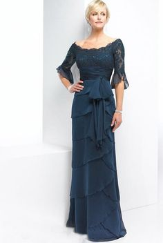 $159.99 Dark Navy Off The Shoulder Band Chiffon Satin 1/2 Sleeves Empire Lace Mother Of Bride Dress In Canada Mother of Bride Dress Prices 212993 - ca-bridals.com