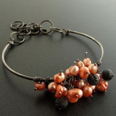 Emmanuela.gr - Handmade Jewelry - Handmade Sterling Silver Bracelet with Salmon Pearls & Lava Stones