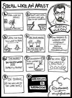 Steal Like an Artist Sketchnote from Scott Torrance — Sketchnote Army Visual Thinking, Creative Thinking, Design Thinking, Visual Note Taking, Sketch Notes, Teaching Art, Writing Tips, Art School, Art Lessons