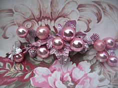 Vintage pink Christmas spray with glass by LittleBeachDesigns, $18.00