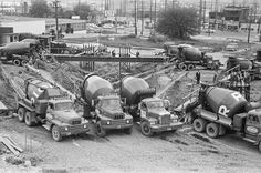 Concrete trucks pouring Space Needle foundation, May (George Gulacsik / Courtesy of The Seattle Public Library) Heavy Duty Trucks, Heavy Truck, New Trucks, Pickup Trucks, Heavy Equipment, Mining Equipment, International Travelall, Cement Mixer Truck, Old Lorries