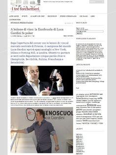 Su I Tre Forchettieri Luca Gardini, la sua Enoscuola e i suoi progetti. nella prima foto:  calice vini bianchi Aria, design Manola Del Testa for RCR