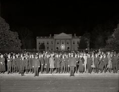 """""""Election night crowd at White House, November 1920."""" The chosen one was Warren Harding. National Photo Company glass negative."""