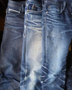 Denim Evolution From left to right N&F Elephant 2 - 1 month, 0 washes Unbranded 121 - 6.5 months, 2 washes PBJ XX-012 - 13 months, 2 washes denim jeans selvedge indigo