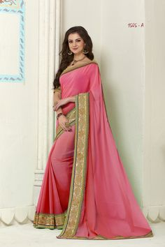 Pink Color Embroidered Lace Work Party Wear Saree