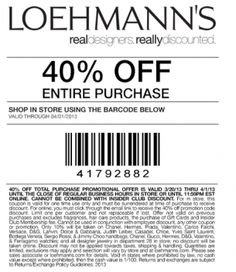 Loehmanns Coupons 40 off ... USE THIS, PLEASE!