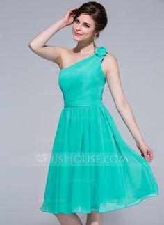 Bridesmaid Dresses - $99.99 - A-Line/Princess One-Shoulder Knee-Length Chiffon Bridesmaid Dress With Ruffle (007037195) http://jjshouse.com/A-Line-Princess-One-Shoulder-Knee-Length-Chiffon-Bridesmaid-Dress-With-Ruffle-007037195-g37195