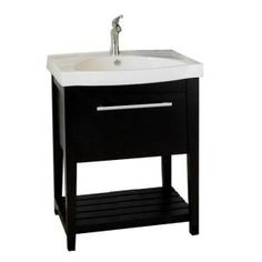 Bellaterra Home, Luton 28 in. W x 18 in. D x 36 in. H Single Sink Wood Vanity in Black with Porcelain Vanity Top in White, 804353 at The Home Depot - Mobile