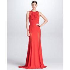 Women's Sheer-Panel Evening Gown, Crimson - Elie Saab