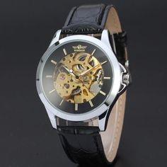 e2e9faeefd WINNER Men Black Self-Winding Skeleton Watch Dial Automatic Mechanical Mens  Fashion Suits