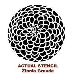stencil for pantry wall - Wall Stencil Zinnia Grande Flower Stencil