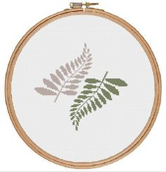 Fern Leaf Cross Stitch Pattern - instant digital pdf download - tropical modern plant botanical by TempleofStitch on Etsy