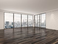 Empty apartment living room with a wooden parquet floor white brick walls and large view windows ove Stock Photo