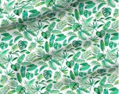 Emerald Tropical Leaf Scatter on White - custom fabric by micklyn for sale on Spoonflower Dog Accesories, Buy Fabric, Love Sewing, Tropical Leaves, Instagram Shop, Cute Designs, Surface Design, Color Show, Decorative Items