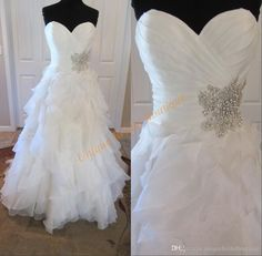 2016 Ballgown Wedding Dresses Tiered Skirts With Sweetheart Neckline And Crystals Details Real Pic Ruffled Organza Plus Size Robe De Mariage Boutique Dresses Ladies Dresses From Uniquebridalboutique, $132.42| Dhgate.Com