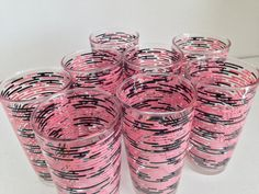 Vintage Hazel Atlas Hazel Ware Pink & Black Retro Drinking Glasses  Barware Tumblers Hard to Find Pattern Set of Eight~~