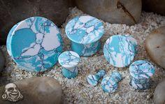 Mayan flare stone plugs (Ocean wave turquoise)