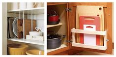 Love the little shelf for holding cutting boards on the inside of a cabinet door! Genius!