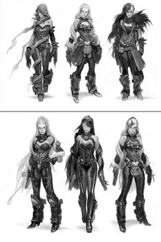 Sketches do game Bayonetta, por Wesley Burt Female Character Design, Character Design References, Character Design Inspiration, Character Concept, Character Art, Concept Art, Monster Anime, Dungeons And Dragons, Steam Punk