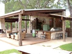 The pergola kits are the easiest and quickest way to build a garden pergola. There are lots of do it yourself pergola kits available to you so that anyone could easily put them together to construct a new structure at their backyard. Backyard Bar, Backyard Kitchen, Backyard Patio Designs, Summer Kitchen, Backyard Landscaping, Patio Ideas, Backyard Fireplace, Fireplace Ideas, Landscaping Ideas