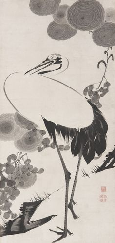 Jakuchu Ito(伊藤若冲 Japanese, 1716-1800) Cranes Ink on paper