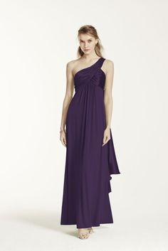 One-Shoulder Long Jersey Dress with Cascade Back Style F13185