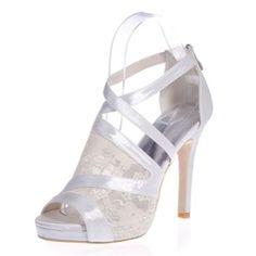 Bröllopsskor - $57.99 - Kvinnor Spetsar Satäng Stilettklack Peep Toe Plattform Sandaler med Zipper Split gemensamma  http://www.dressfirst.se/Kvinnor-Spetsar-Sataeng-Stilettklack-Peep-Toe-Plattform-Sandaler-Med-Zipper-Split-Gemensamma-047068274-g68274