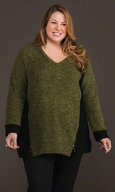Highland Zipper Sweater / MiB Plus Size Fashion for Women / Fall Fashion / Green http://www.makingitbig.com/product/4922