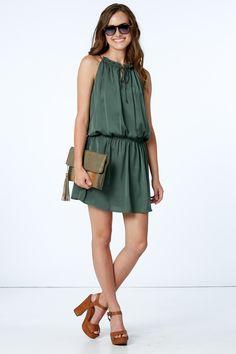 BB Dakota Kelving Drop Waist Dress In Army Green at reddressboutique.com