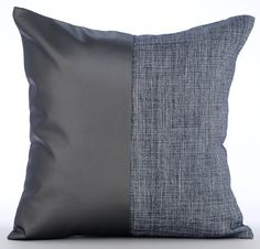 Grey Pillow Covers 16x16 Faux Leather Pillow by TheHomeCentric