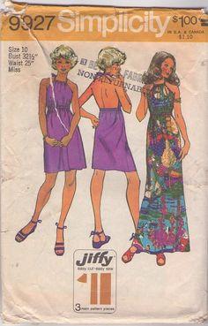 MOMSPatterns Vintage Sewing Patterns - Simplicity 9927 Vintage 70's Sewing Pattern BEST Jiffy Bare Back Drawstring Halter Top Mini Sun Dress, Bohemian Maxi Gown