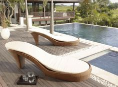 These chic loungers create a very distinct look. Ideal if seeking unique patio furniture. Please contact for pricing.