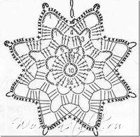 Tina's handicraft : 23 patterns for christmas ornament Crochet Snowflake Pattern, Crochet Stars, Crochet Motifs, Christmas Crochet Patterns, Crochet Snowflakes, Crochet Diagram, Thread Crochet, Love Crochet, Crochet Doilies
