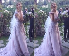 Utterly romantic lavender ombre gown from yns wedding with delicate aly michalka ties the knot in lavender wedding dress 2 junglespirit