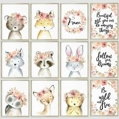 Floral boho nursery printable art Woodland animals print set of 3-4-6-8 or 12 arts!
