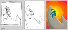 #evolution of a #digitalart #illustration , from the #draft to the final phase where I add #colors and  other details.
