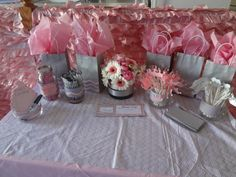"Pink and grey chevron bridal shower ""game table"""