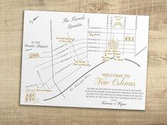 New Orleans Custom Wedding Map