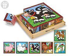 Farm Cube Puzzle : Six puzzles in one! There are 16 solid wooden cubes in this unique puzzle. Rotate the cubes in the included wooden tray to complete colorful pictures of six different farm animals. (The border design provides a helpful hint! Jig Saw, Puzzle Cube, Puzzle Pieces, Wooden Puzzles, Wooden Toys, Wooden Jigsaw, Wooden Blocks, Wooden Easel, Pranks