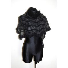 Goth Hand Knit Lace Shawl, Black and Grey Hand Knit Lace Shawl, Black... ($105) ❤ liked on Polyvore featuring accessories, scarves, evening shawls, hand knitted shawl, triangle shawl, evening scarves and holiday scarves