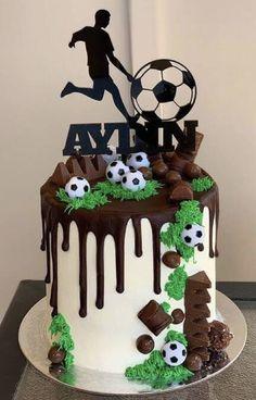 Soccer Birthday Cakes, Funny Birthday Cakes, Elegant Birthday Cakes, Pretty Birthday Cakes, Homemade Birthday Cakes, Boys 16th Birthday Cake, Soccer Cakes, Soccer Ball Cake, Boy Cakes
