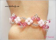 Beaded Bracelet Tutorial Pattern Pink Wavy Bracelet BB080